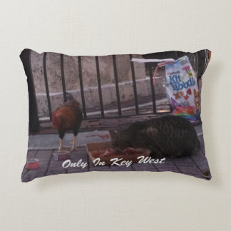 """Only In Key West"" Cat & Rooster Pillow"