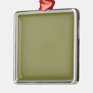 Only olive green cool solid color background Silver-Colored square ornament