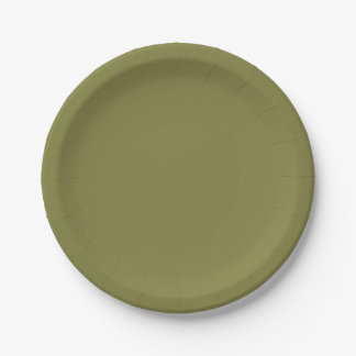 Only olive green cool solid color OSCB24 7 Inch Paper Plate