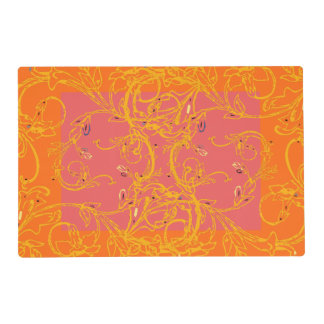 Only orange ivy scroll laminated place mat