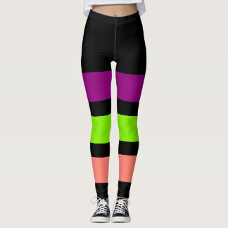 ONLY STRIPES - purple, spring green, salmon Leggings