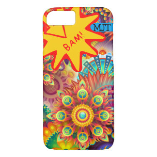 Onomatopoeia poof, bam thinking fireworks iPhone 7 case
