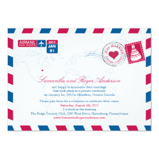 Ontario Canada Air Mail Post Wedding Reception Card