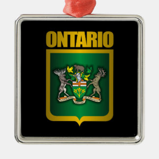 Ontario Gold Silver-Colored Square Ornament