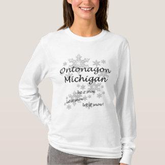 Ontonagon Michigan Snowflake Snow Ladies T-Shirt