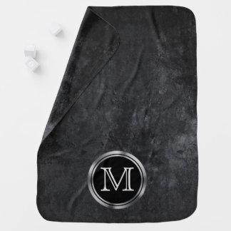 Onyx Baby | Monogram Black White Matte Chalkboard Baby Blanket