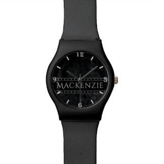 Onyx Bling   Name Dark Black Grunge Matte Studs Watch