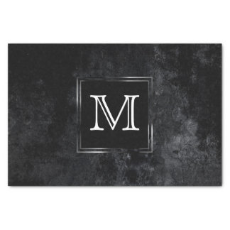 Onyx Party | Monogram Black Grunge Matte Classic Tissue Paper