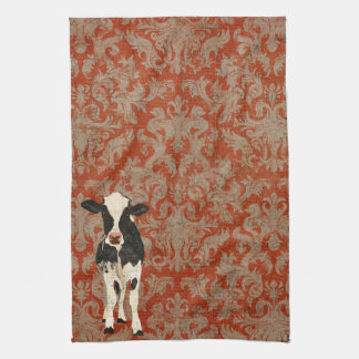 Onyx & Pearl Cows Amber Damask Towel