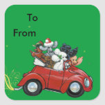 Oodles Poodles red Car Christmas Tags Stickers
