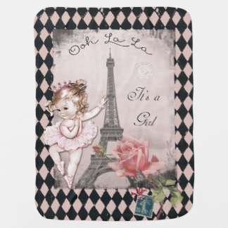Ooh La La It's a Girl Paris Princess Ballerina Baby Blanket