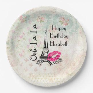 Ooh La La Paris Eiffel Tower Happy Birthday 9 Inch Paper Plate