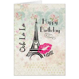 Ooh La La Paris Eiffel Tower Happy Birthday Card