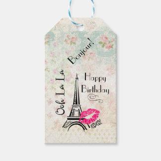 Ooh La La Paris Eiffel Tower Happy Birthday Gift Tags