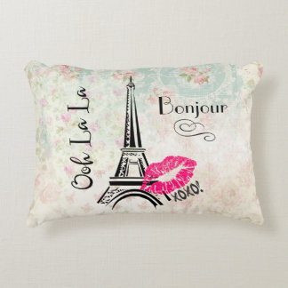 Ooh La La Paris Eiffel Tower on Vintage Pattern Decorative Pillow