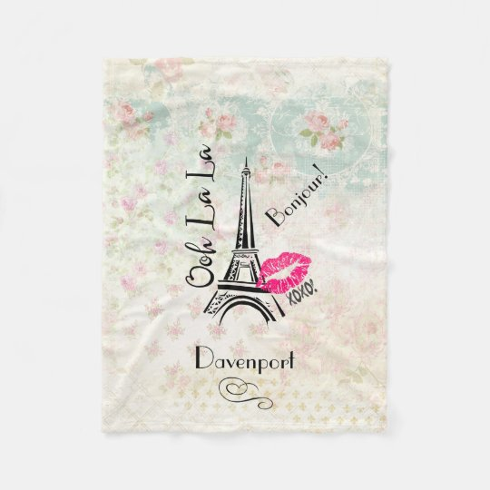 Ooh La La Paris Eiffel Tower on Vintage Pattern Fleece Blanket