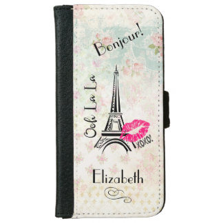 Ooh La La Paris Eiffel Tower on Vintage Pattern iPhone 6 Wallet Case