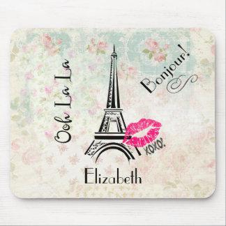 Ooh La La Paris Eiffel Tower on Vintage Pattern Mouse Pad