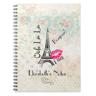 Ooh La La Paris Eiffel Tower on Vintage Pattern Notebooks