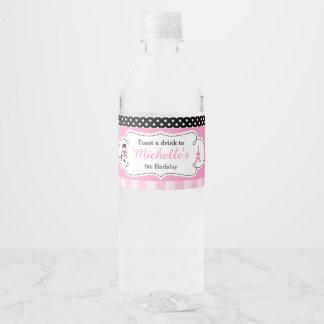 Ooh la la Paris Eiffel Tower Pink and Black Water Bottle Label