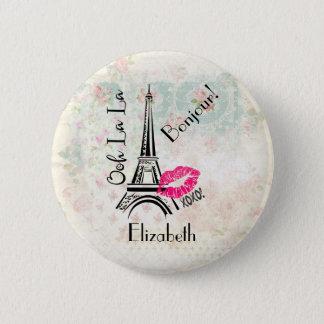 Ooh La La Paris Eiffel Tower Vintage Bonjour 2 Inch Round Button