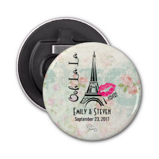 Ooh La La Paris Eiffel Tower Vintage Wedding Button Bottle Opener