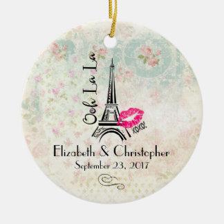 Ooh La La Paris Eiffel Tower Wedding Ceramic Ornament