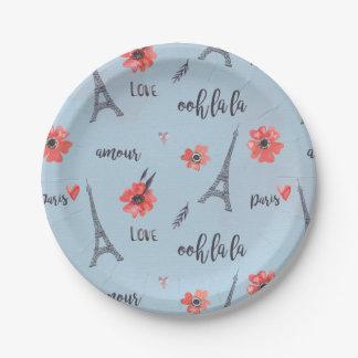 Ooh la la Paris Paper Plates 7 Inch Paper Plate