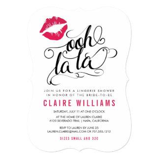 "Ooh La La Pink Lips Typography Lingerie Shower 5"" X 7"" Invitation Card"