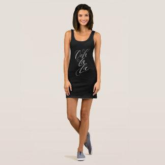 Ooh La La - Sensuous Feminine Lettering on Black Sleeveless Dress