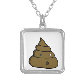ooh poop silver plated necklace