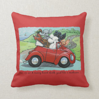 Ooodles of Poodles & Vintage Red Auto Throw Pillow