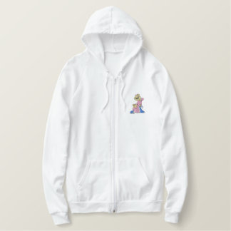 Oops Girl Bear Embroidered Hoodie
