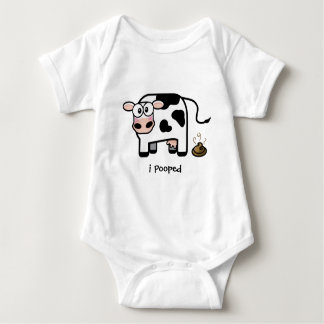 Oops I Pooped   Funny Pooping Cow Baby Bodysuit