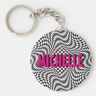 Op Art Background 1 Basic Round Button Keychain