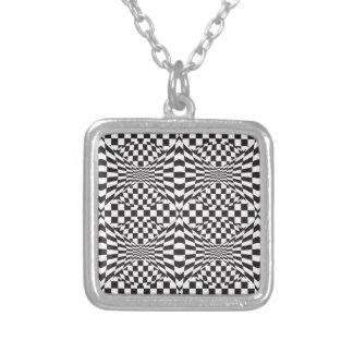 Op Art Background 1 Silver Plated Necklace