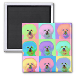 Op Art - Bichon Frise - Cody Square Magnet