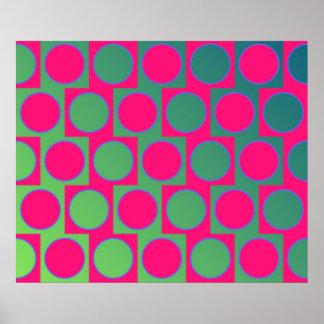 Op Art Big Circles Alternated Pattern Magenta Poster