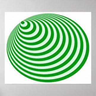 Op Art Bullseye Excentric Pale Green Deep Green Poster