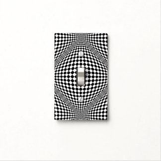 Op-Art Checkers in Black and White Light Switch Cover