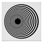 Op Art Horizontal Circles Black and White 01 Poster