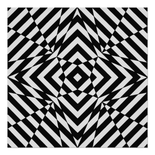 Op Art, optical illusion 4 square Poster