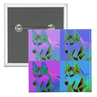 Op Art - Siberian Husky Pinback Button