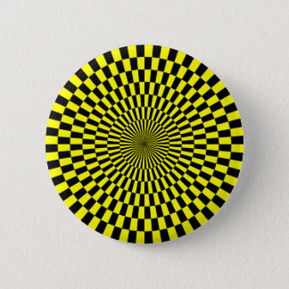 Op Art - Yellow and Black 2 Inch Round Button
