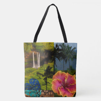 Opaeka'a Falls, Kauai Hawaiian Collage Beach Bag