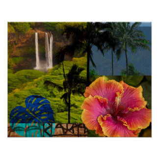Opaeka'a Falls, Kauai Hawaiian Collage Poster
