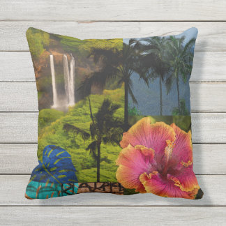 Opaeka'a Falls, Kauai Hawaiian Collage Reversible Outdoor Pillow