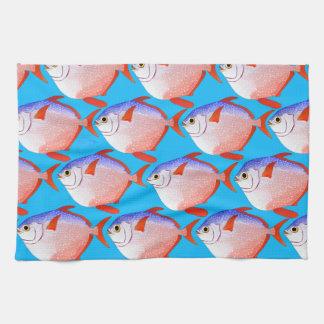 opah pattern in blue kitchen towel
