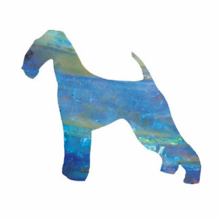 Opal Airedale Terrier Jewelry Pin Photo Sculpture Button