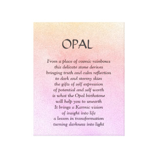 Opal birthstone - October poem art canvas